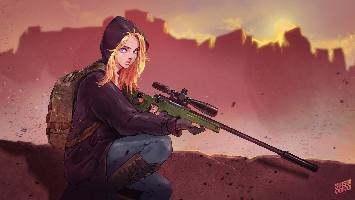 1360x768 Pubg Game Girl Fanart Laptop Hd Hd 4k Wallpapers Images