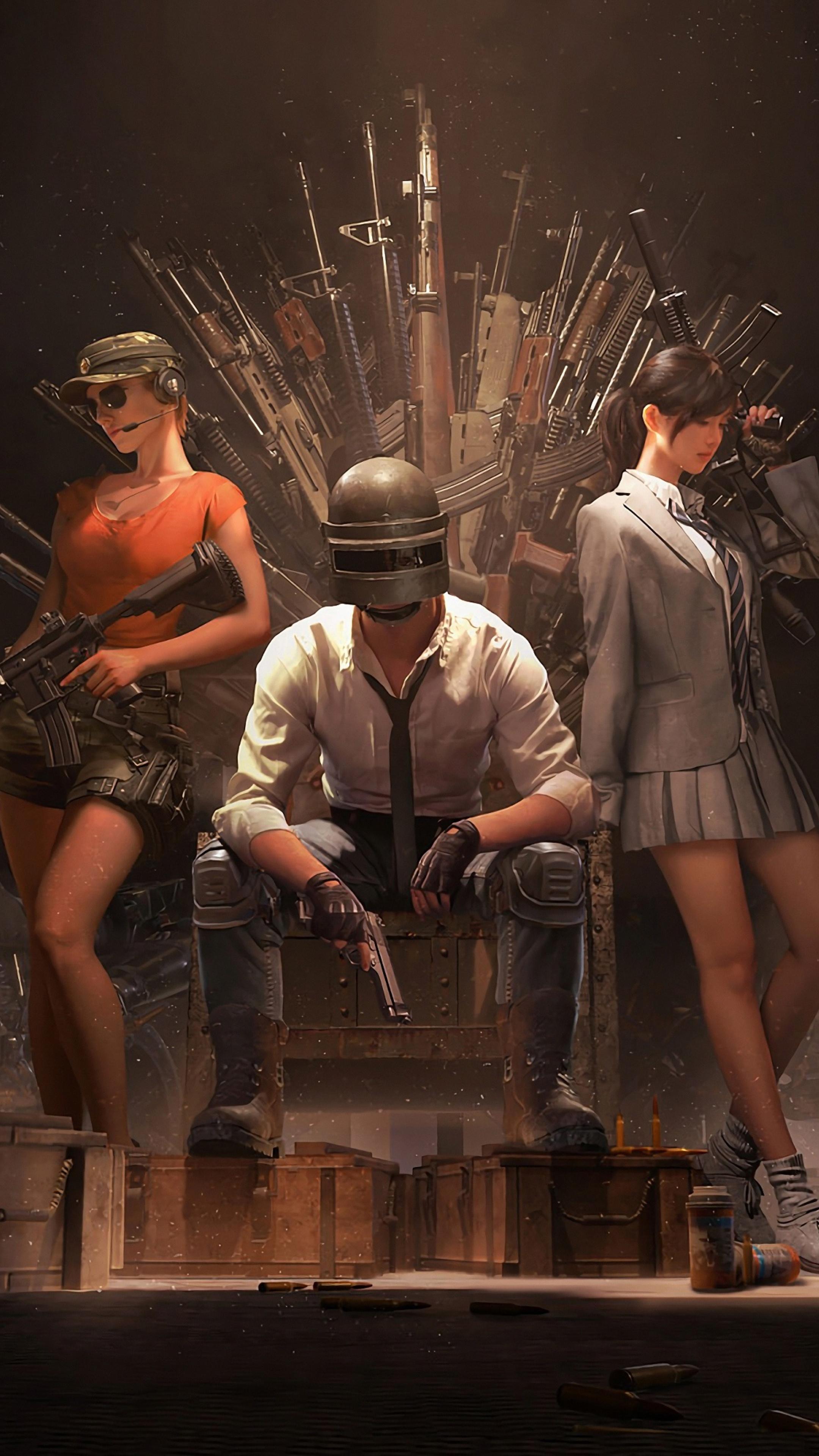 2160x3840 Pubg Helmet Guy With Girls And Guns 4k Sony Xperia X Xz Z5