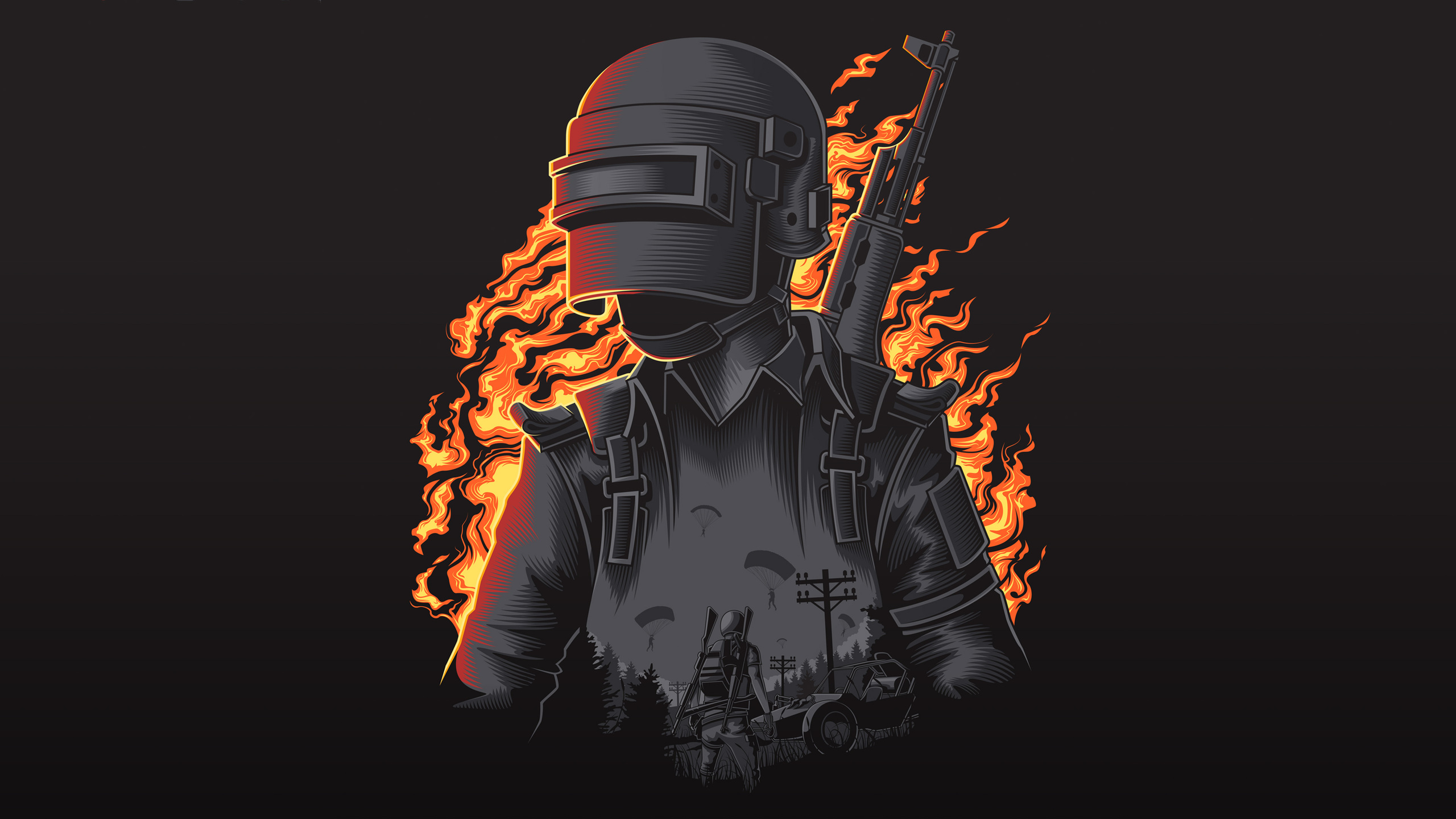 Pubg Black Wallpapers: 2560x1440 Pubg Illustration 4k 1440P Resolution HD 4k