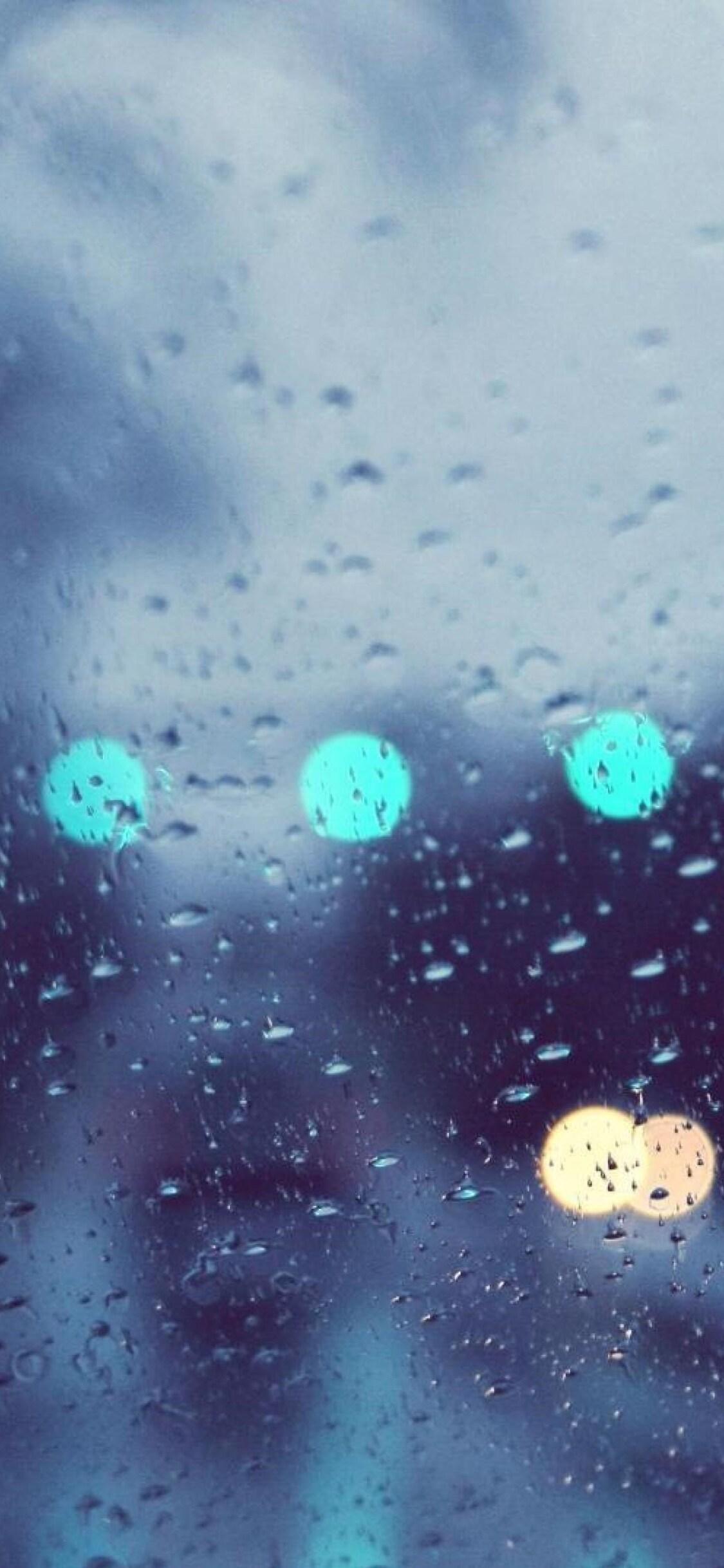 1125x2436 Rain Glare Glass Drops Iphone Xs Iphone 10 Iphone