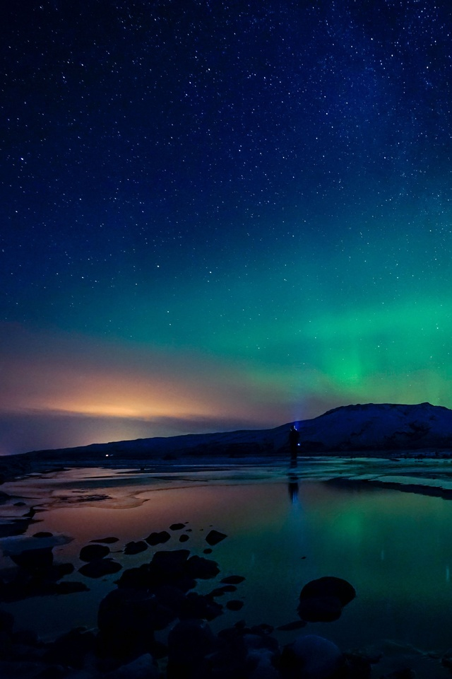 rainbow night northern lights pn