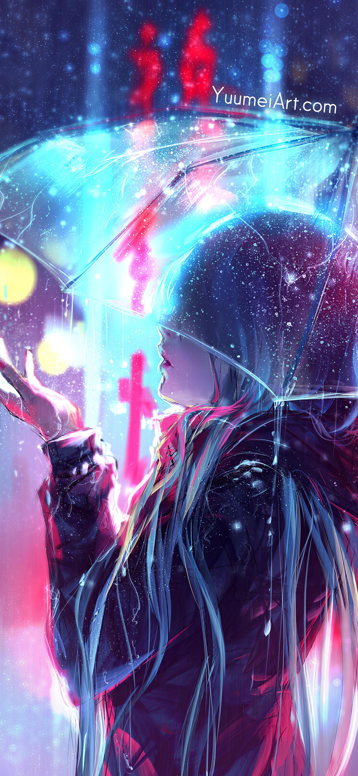 1242x2688 Raining Anime Girl Blur Lights 4k Iphone XS MAX ...