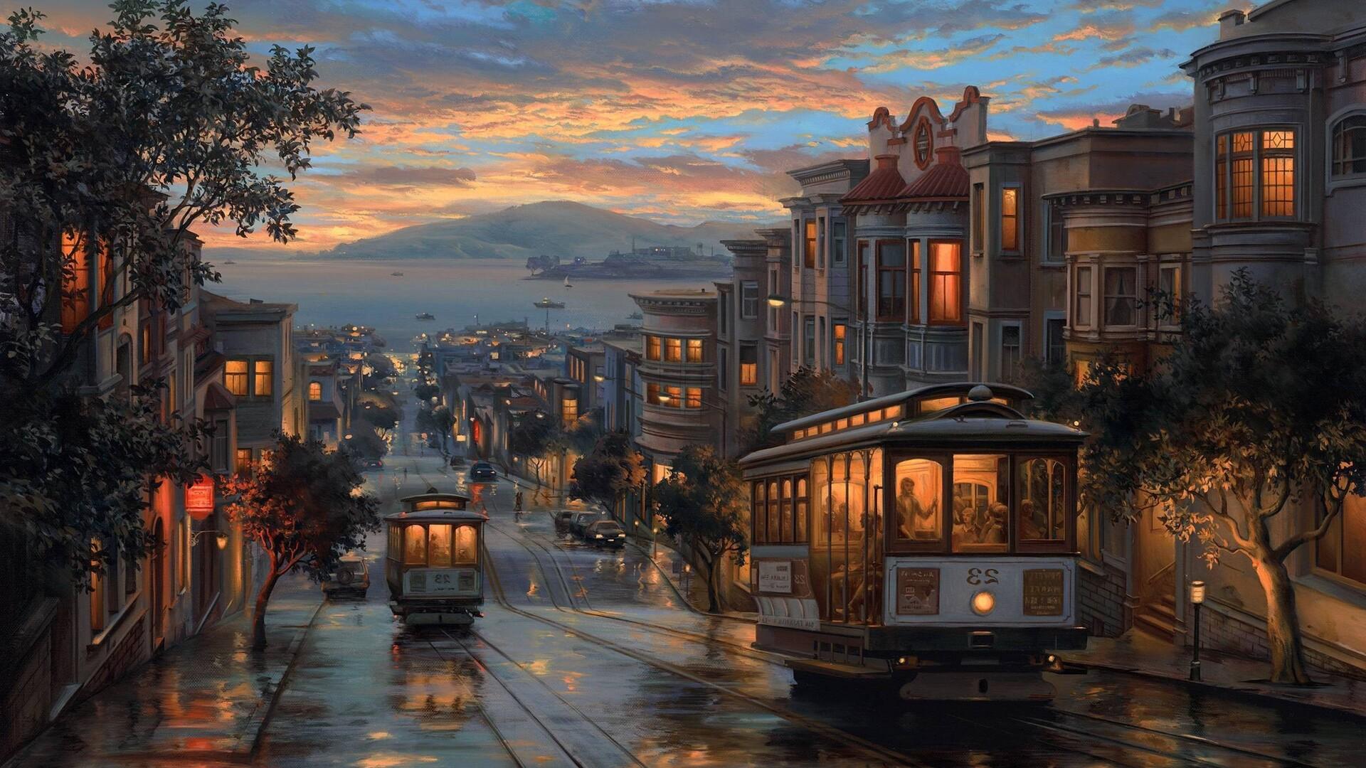rainy,night,artistic,painting
