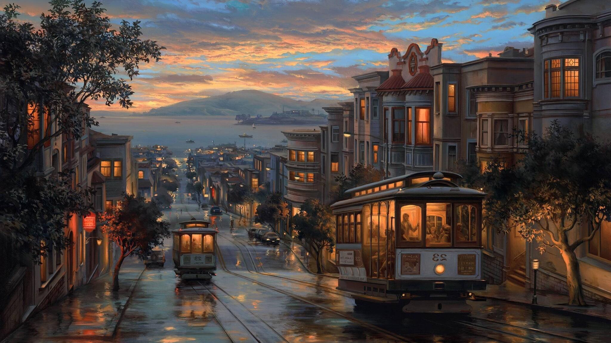2048x1152 Rainy Night Artistic Painting 2048x1152