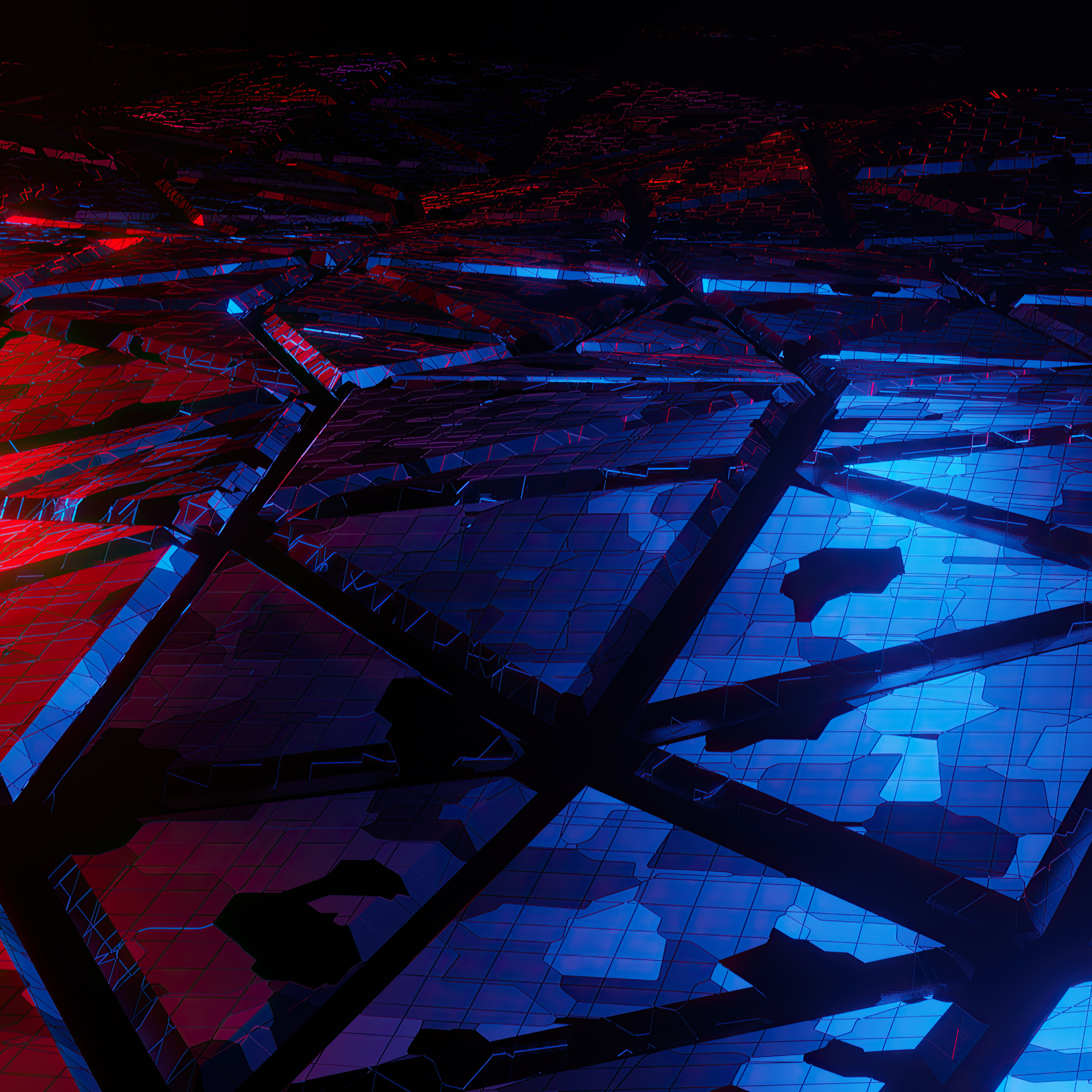 2932x2932 Red And Blue Broken Abstract 4k Ipad Pro Retina