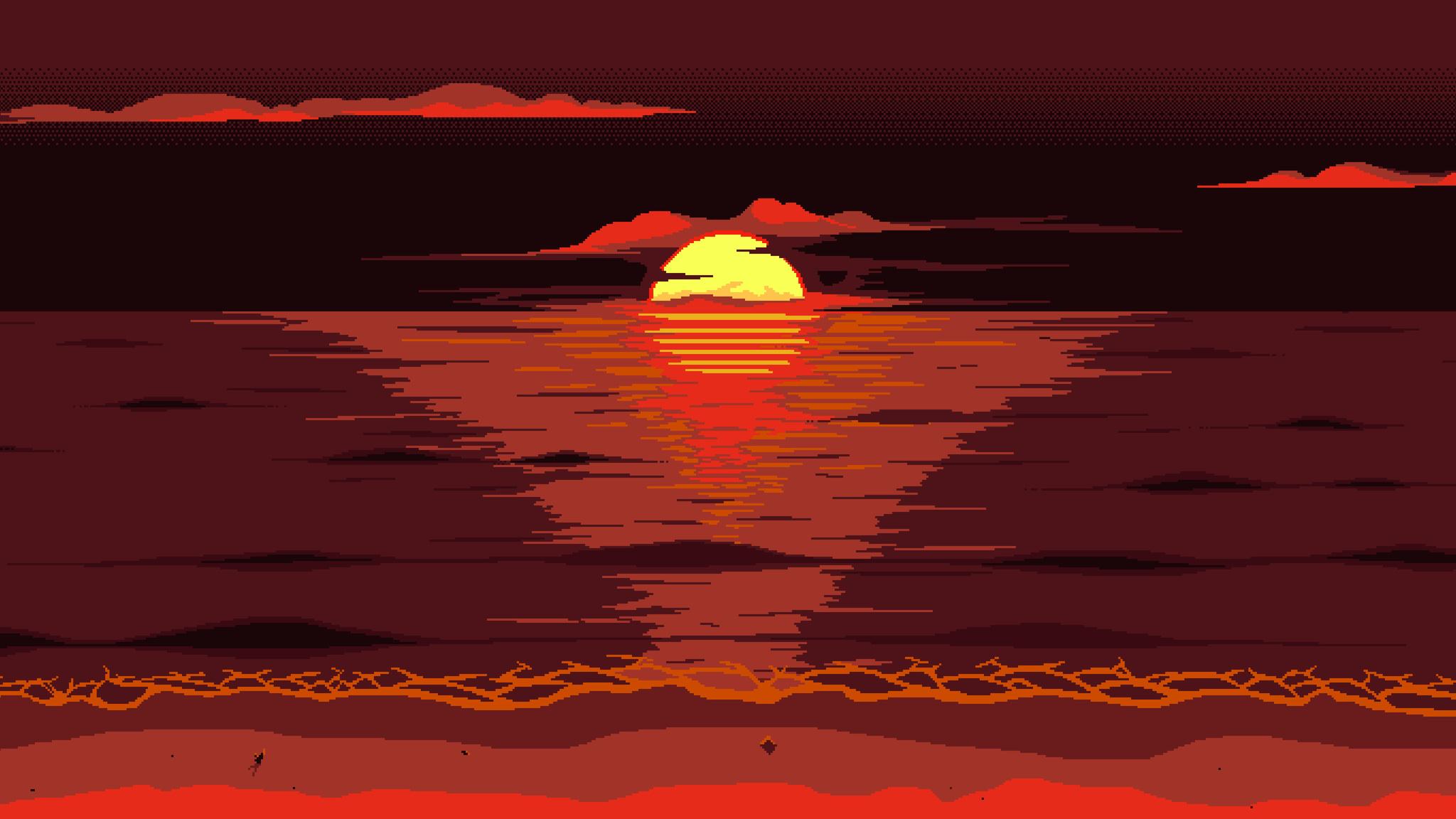 2048x1152 Red Dark Pixel Art Sunset 8k 2048x1152 ...