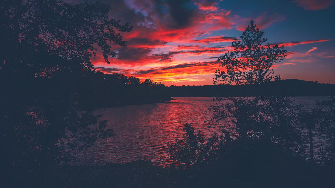 1366x768 Red Evening Sunset Lake View From Forest Woods