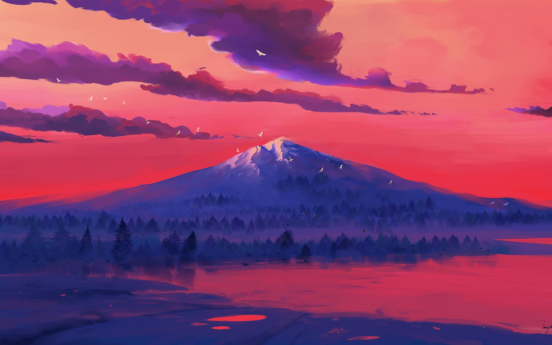 2880x1800 Red Lake Mountains Minimal 4k Macbook Pro Retina ...