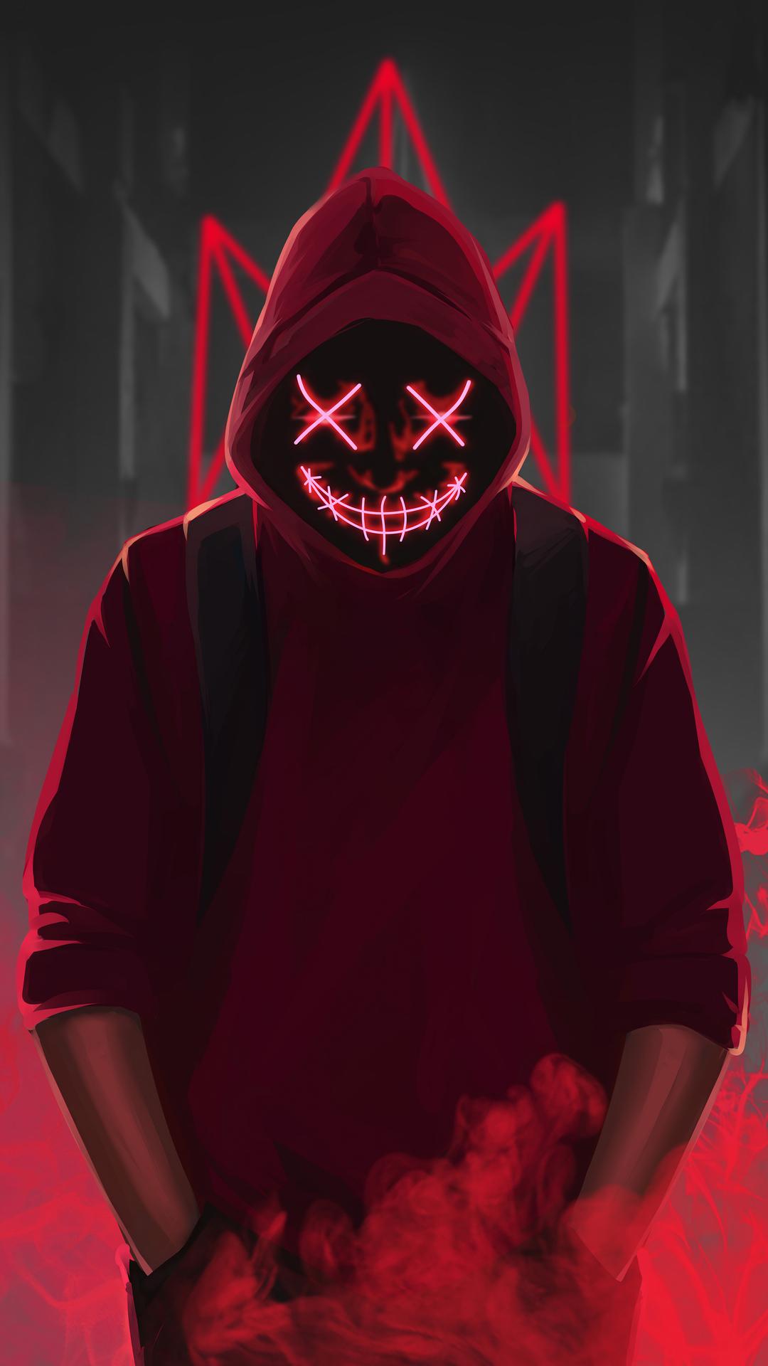 1080x1920 Red Mask Neon Eyes 4k Iphone 7,6s,6 Plus, Pixel ...