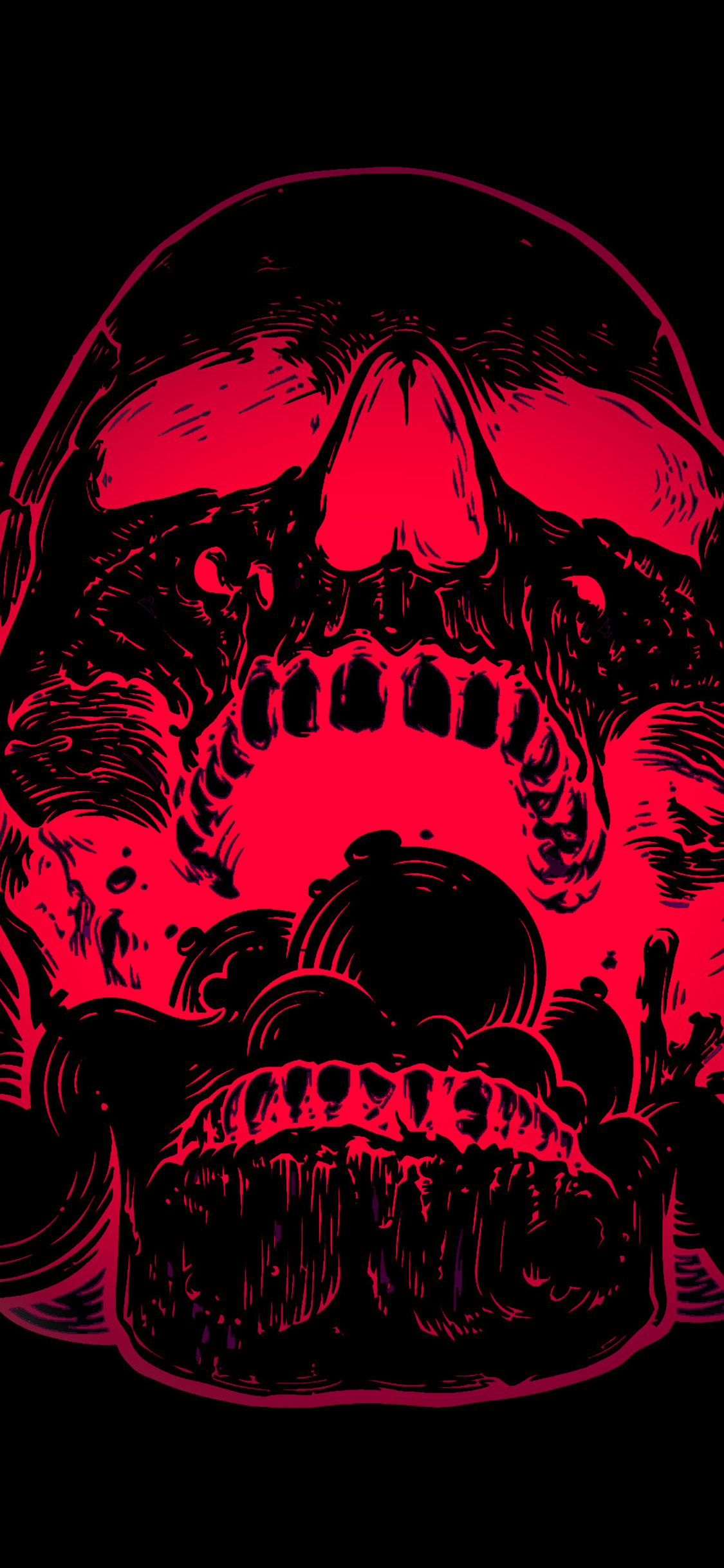 1125x2436 Red Skull Flowers Black Background 4k Iphone Xs Iphone 10