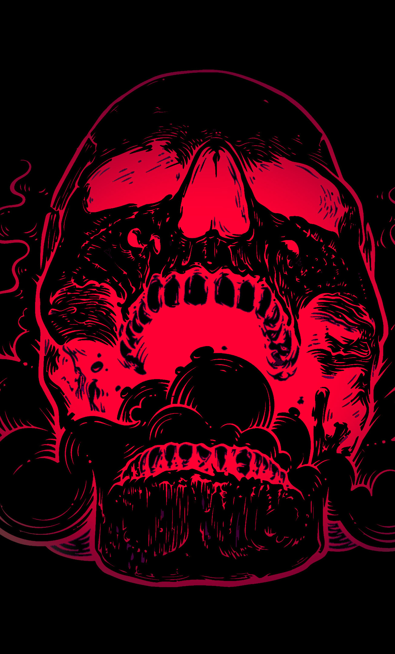 Red Skull Flowers Black Background 4k O4