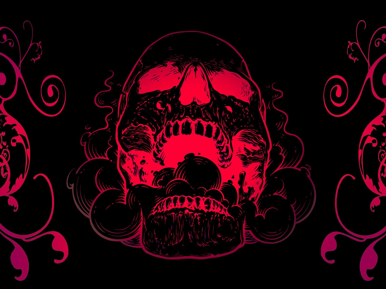 Red Skull Flowers Black Background 4k