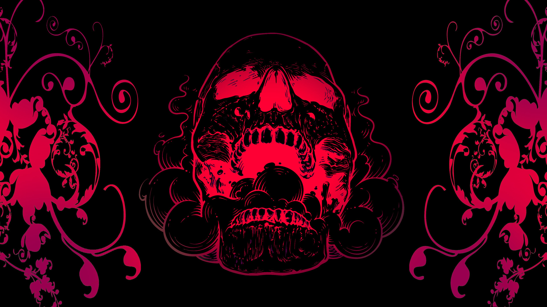 1920x1080 red skull flowers black background 4k laptop full hd 1080p