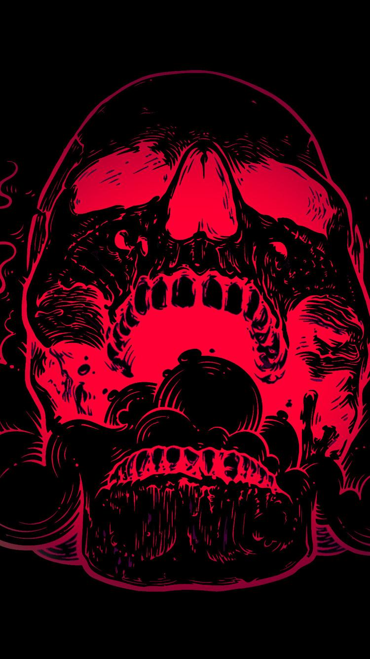750x1334 Red Skull Flowers Black Background 4k Iphone 6