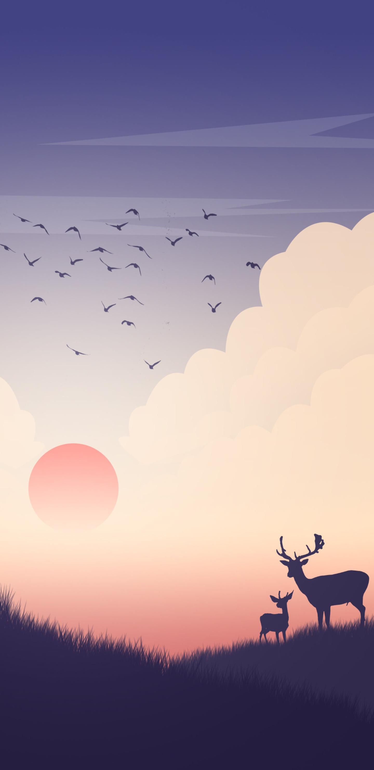 reindeer-sunset-view-minimalism-yd.jpg