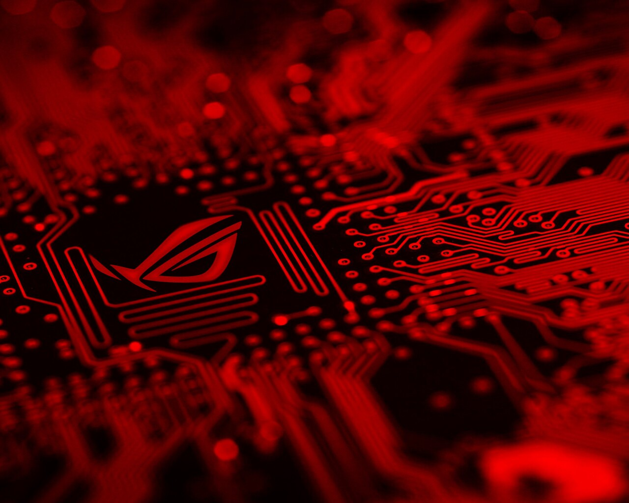 1280x1024 Republic Of Gamers Motherboard Red Background