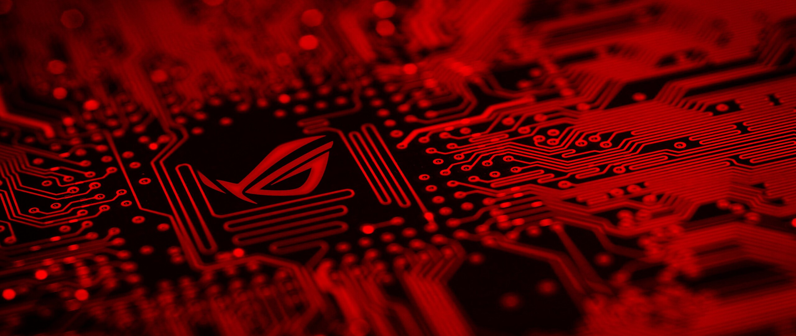 2560x1080 Republic Of Gamers Motherboard Red Background Logo
