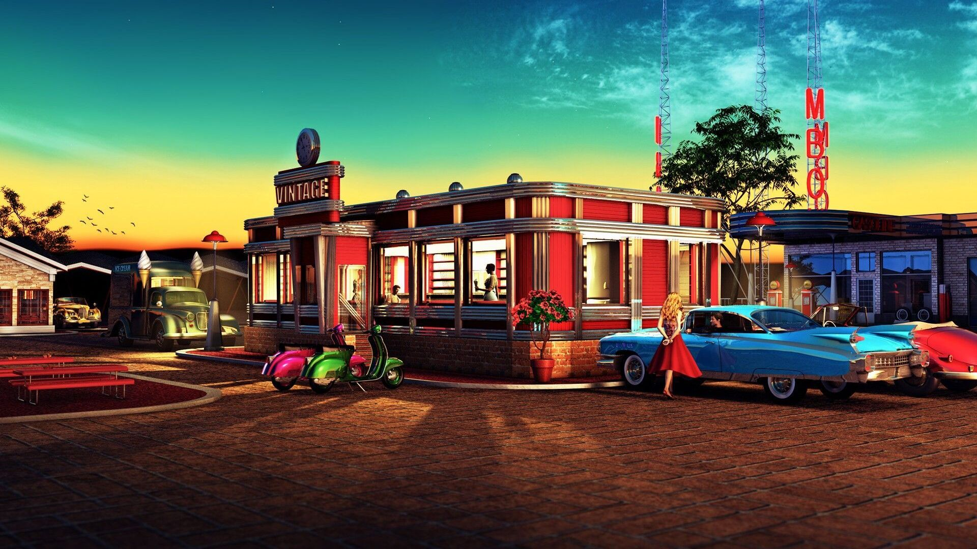 1920x1080 Retro Diner Laptop Full Hd 1080p Hd 4k Wallpapers Images Backgrounds Photos And Pictures