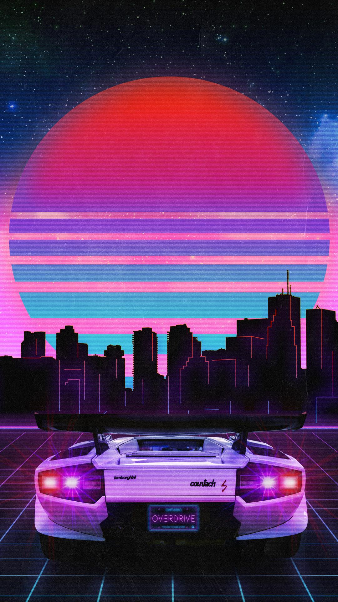 Retro Wave Lamborghini Neon City 5k Ny