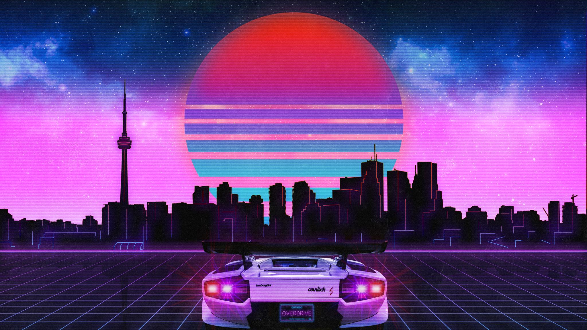 2048x1152 Retro Wave Lamborghini Neon City 5k 2048x1152 ...