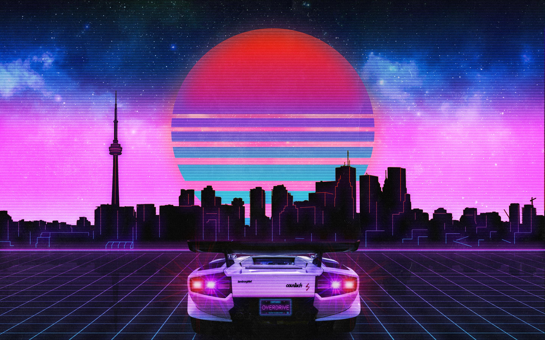 2880x1800 Retro Wave Lamborghini Neon City 5k Macbook Pro ...
