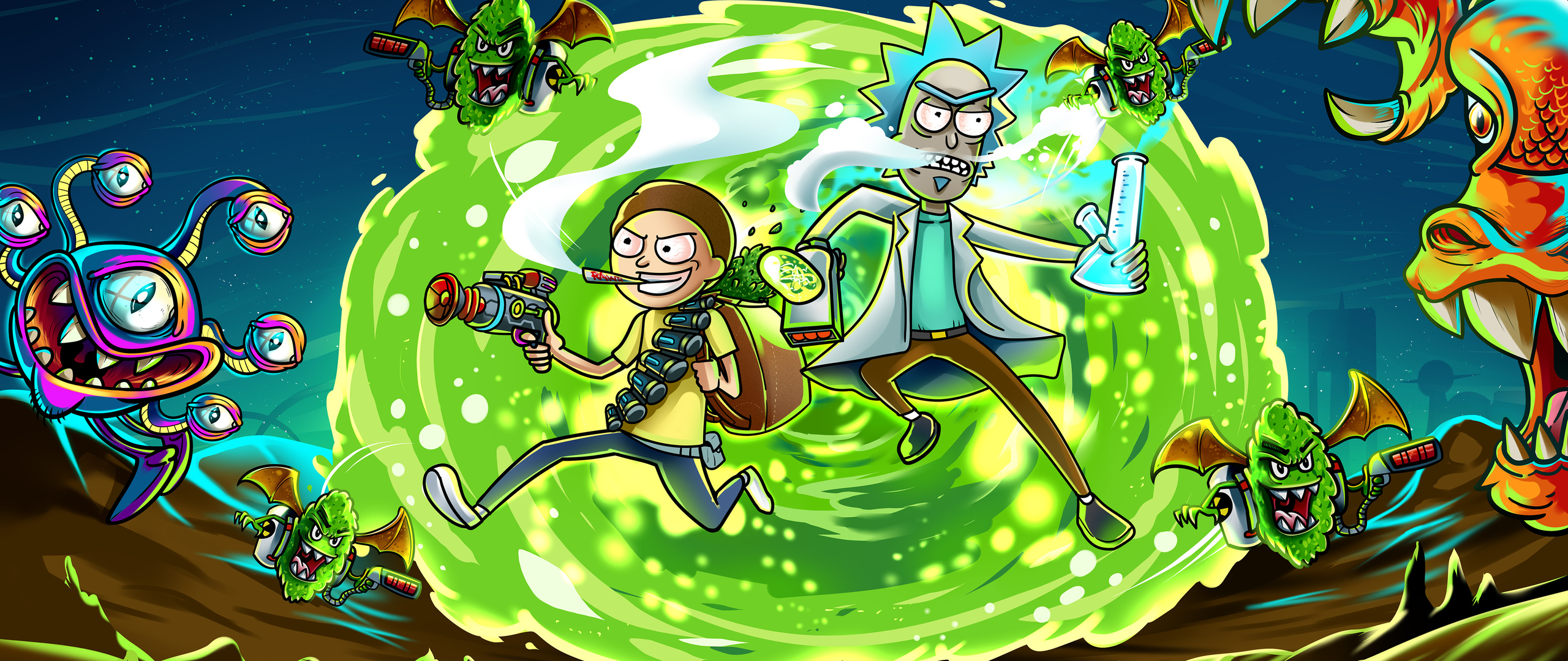 2560x1080 rick and morty in another dimension illustration 2560x1080 resolution hd 4k wallpapers - Rick and morty download ...