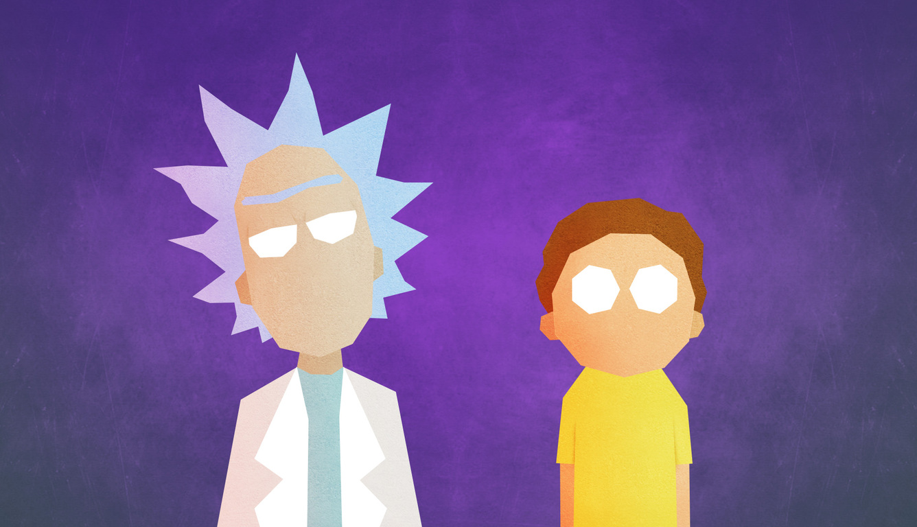 Minimalist Rick And Morty Laptop Wallpaper