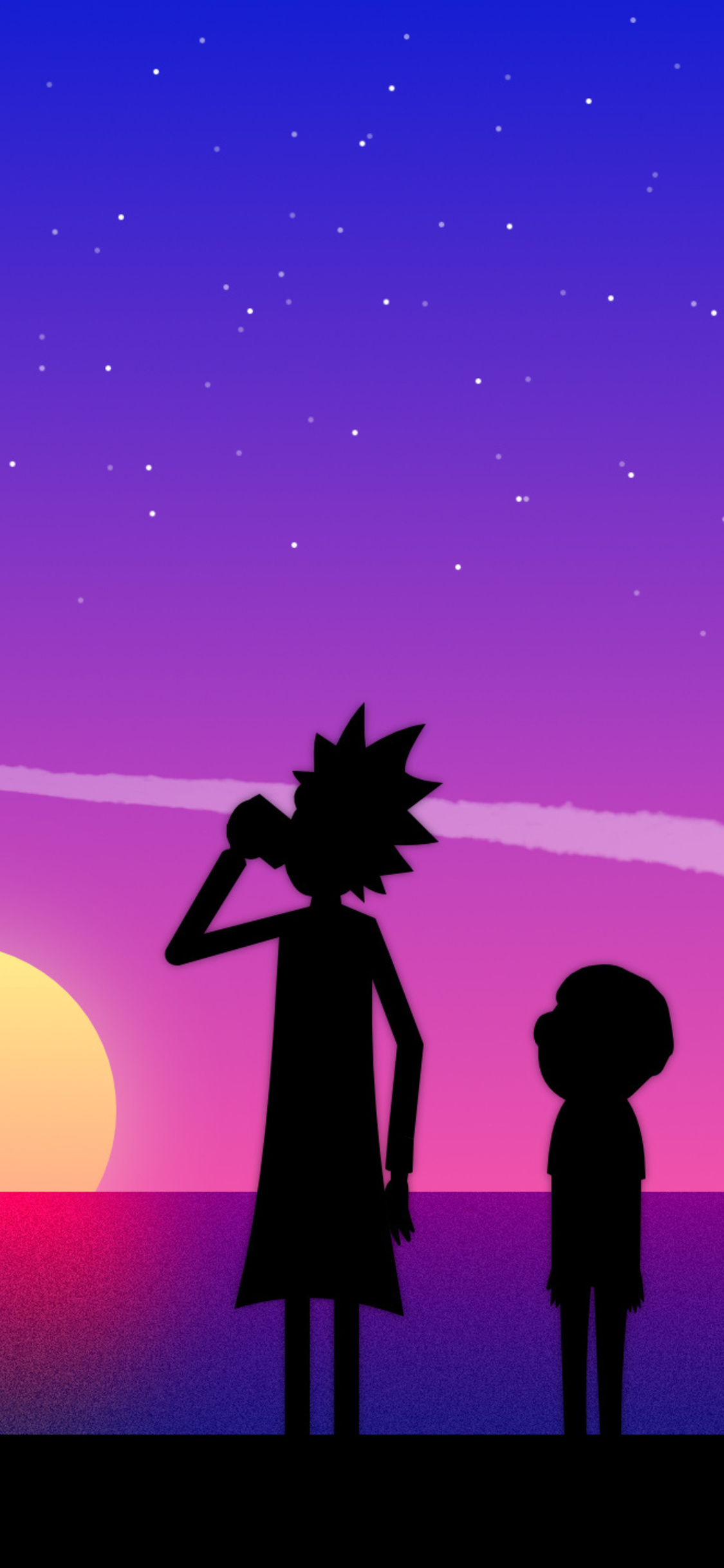 1125x2436 Rick And Morty Vaporwave Art Iphone Xs Iphone 10