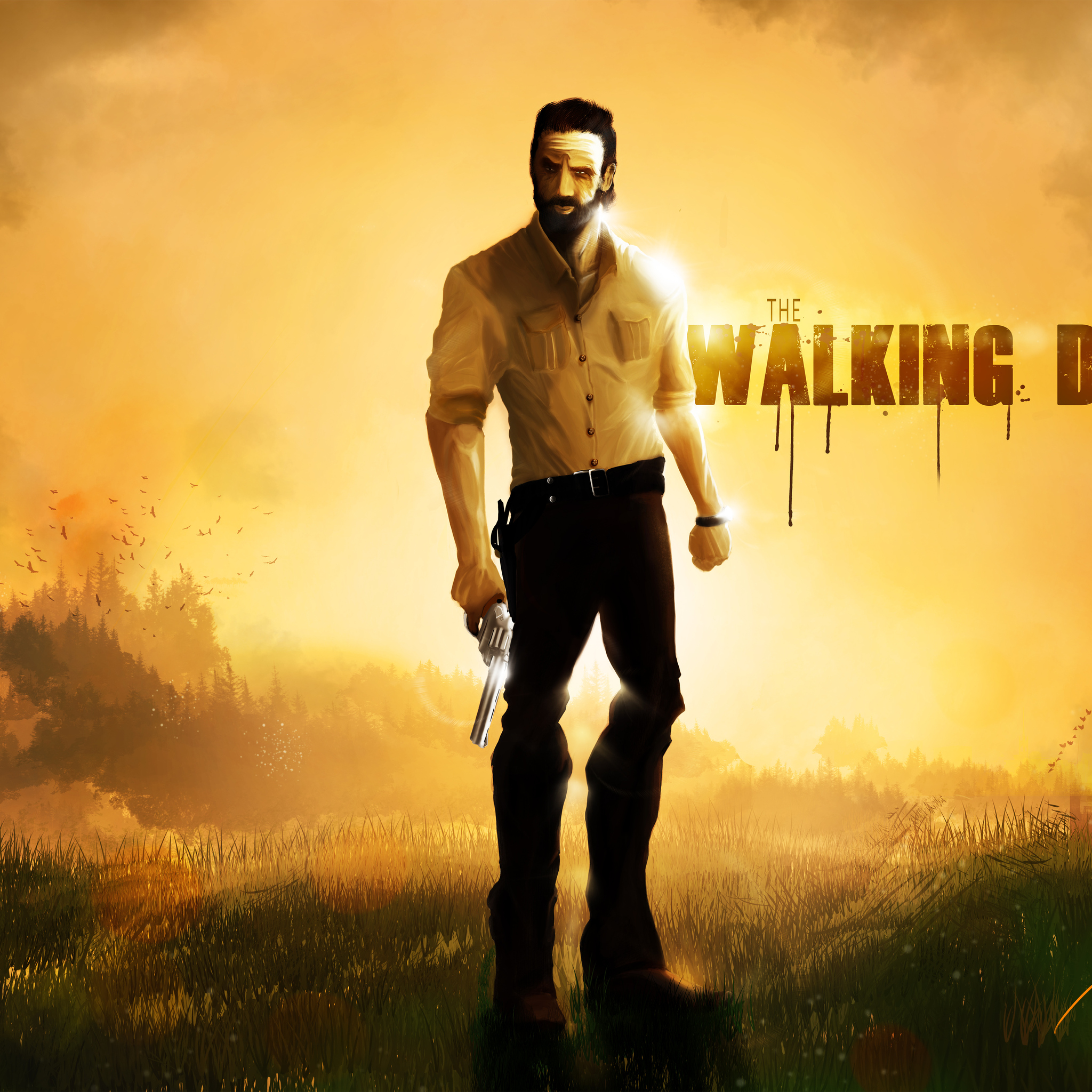 2048x2048 Rick Grimes The Walking Dead 5k Artwork Ipad Air Hd 4k