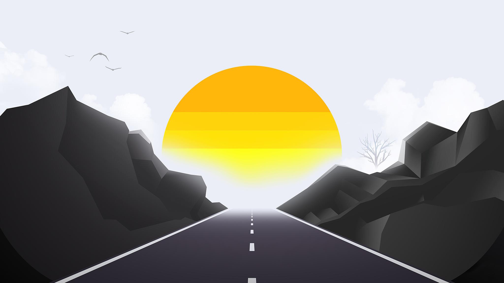 road-mist-sun-landscape-minimal-4k-3y.jpg