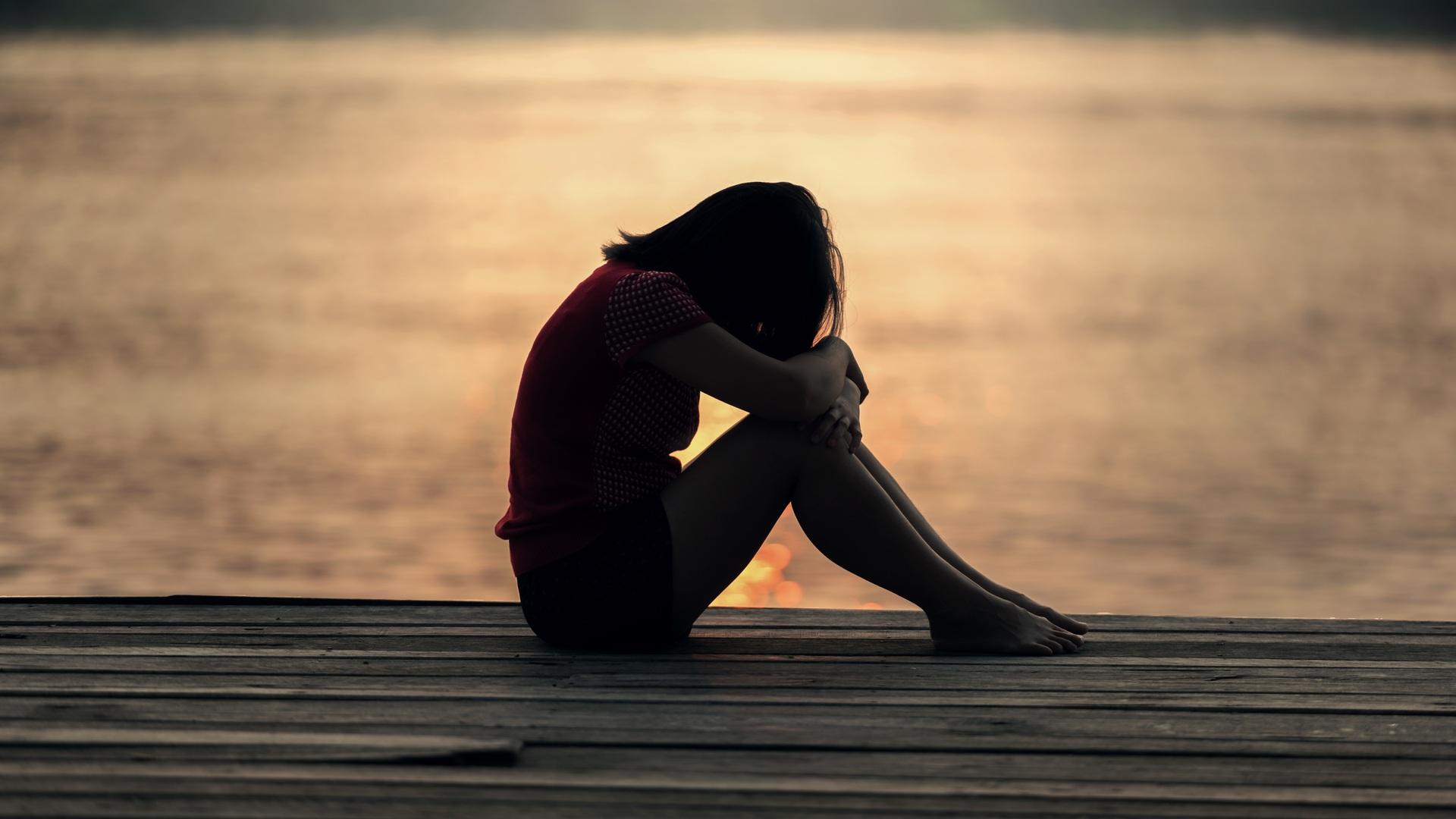 1920x1080 Sad Girl Sitting On Dock Silhouette Laptop Full Hd 1080p