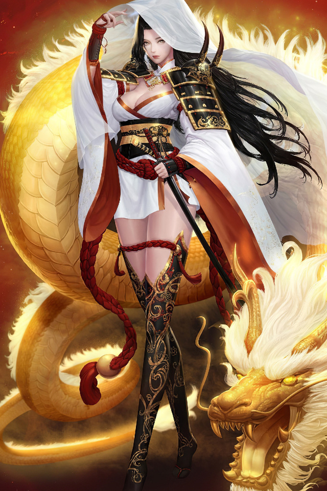 640x960 Samurai Anime Girl Fantasy Art 4k Iphone 4 Iphone 4s Hd 4k Wallpapers Images Backgrounds Photos And Pictures