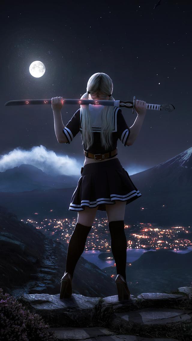 samurai sword girl 4k cs