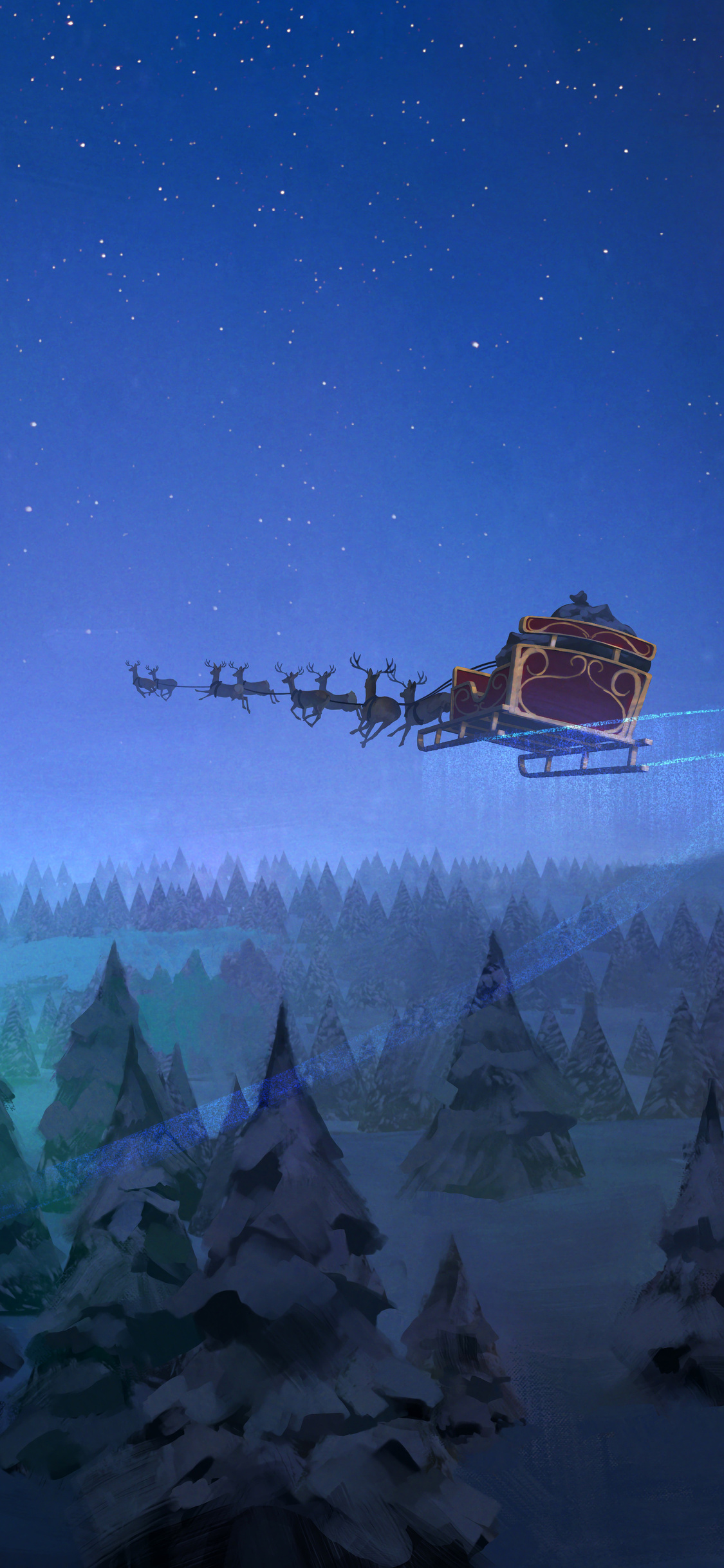 1125x2436 Santa Claus Reindeer Sleigh Flying Christmas Tree