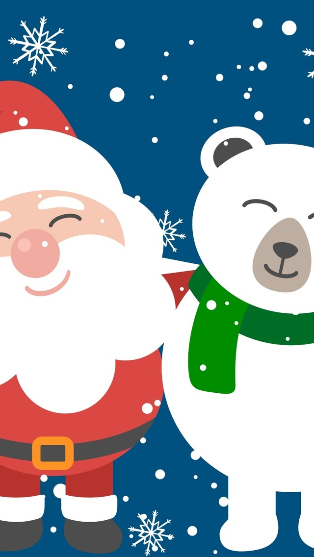 640x1136 Santa Clause And Bear Friend Iphone 55c5sse