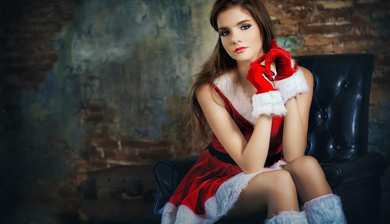 1336X768 Santa Girl Laptop Hd Hd 4K Wallpapers, Images -2734