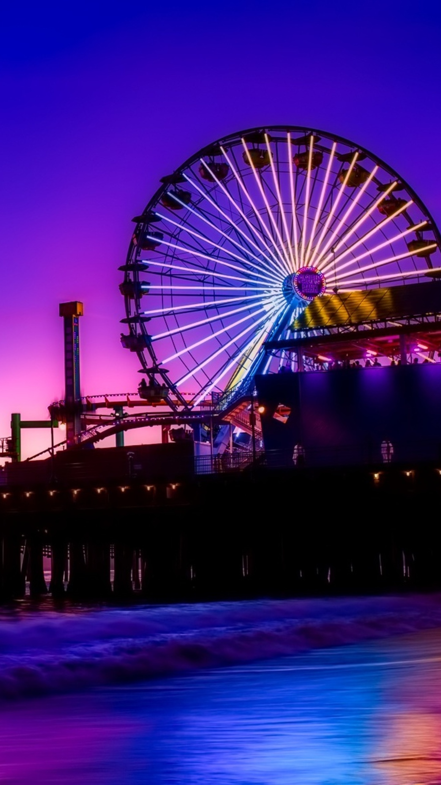 1440x2560 Santa Monica Ferris Wheel Colorful Golden Hour
