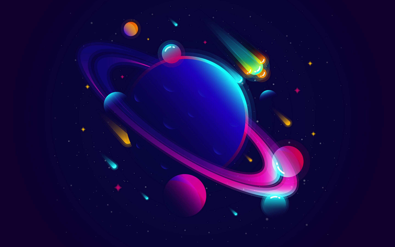 2880x1800 Saturn Planet Illustration Minimalist Macbook ...