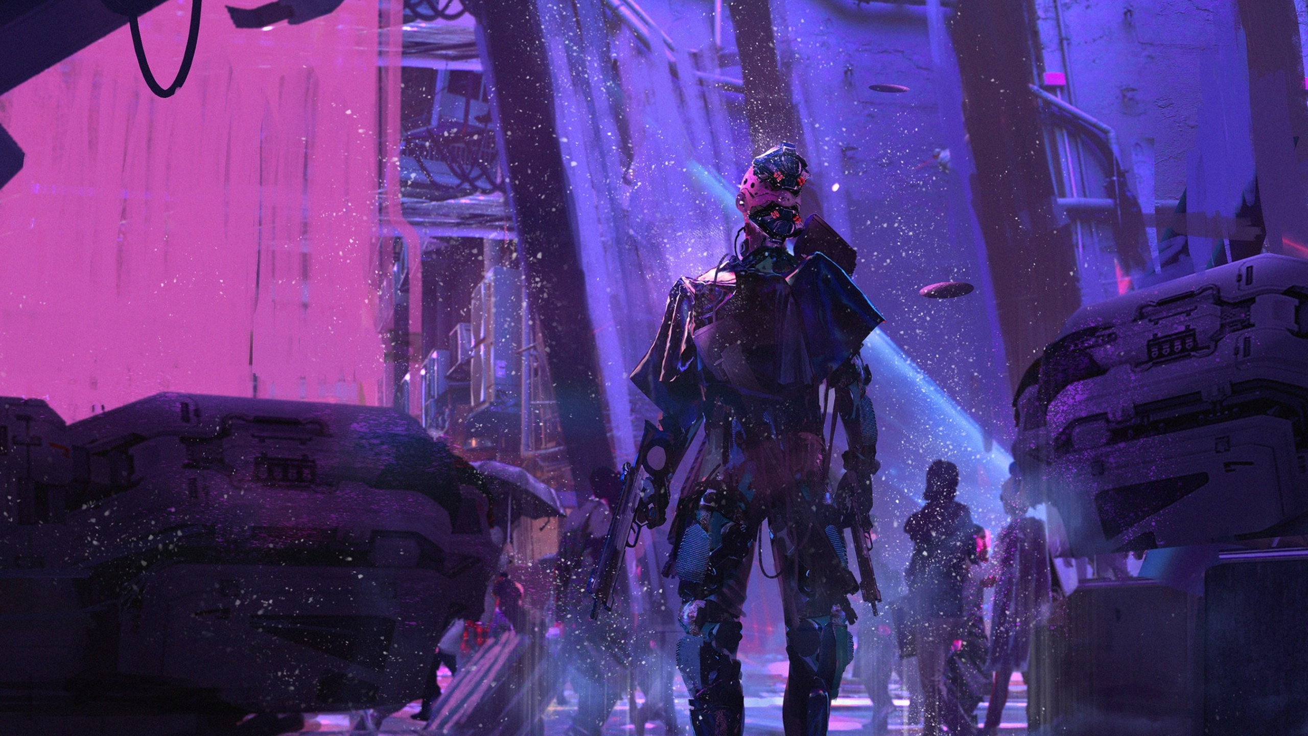 2560x1440 sci fi cyberpunk neon robot 1440p resolution hd