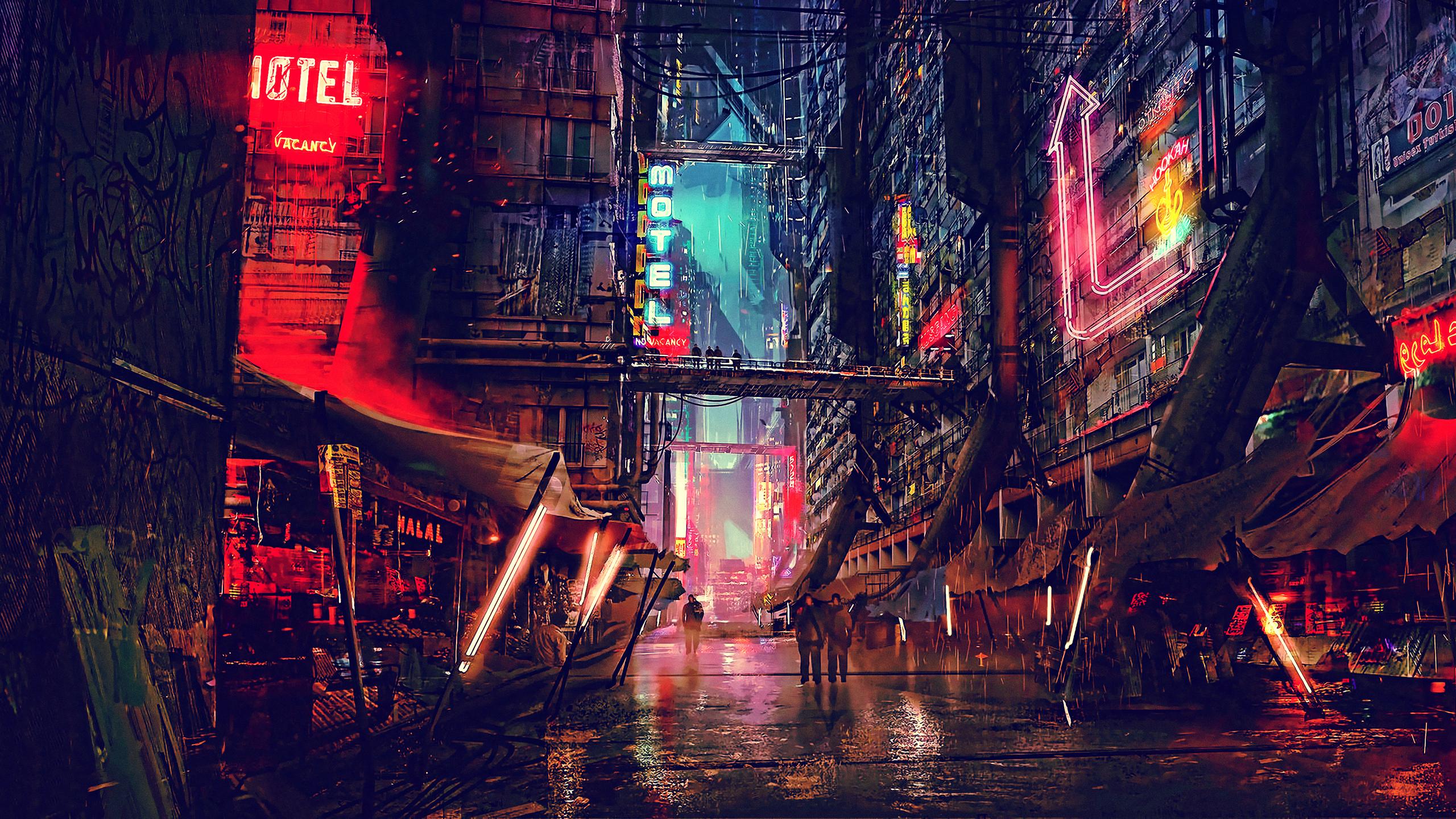 2560x1440 Science Fiction Cyberpunk Futuristic City ...