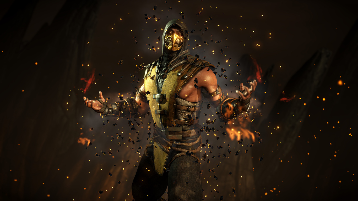 scorpion mortal kombat x wallpaper 4k