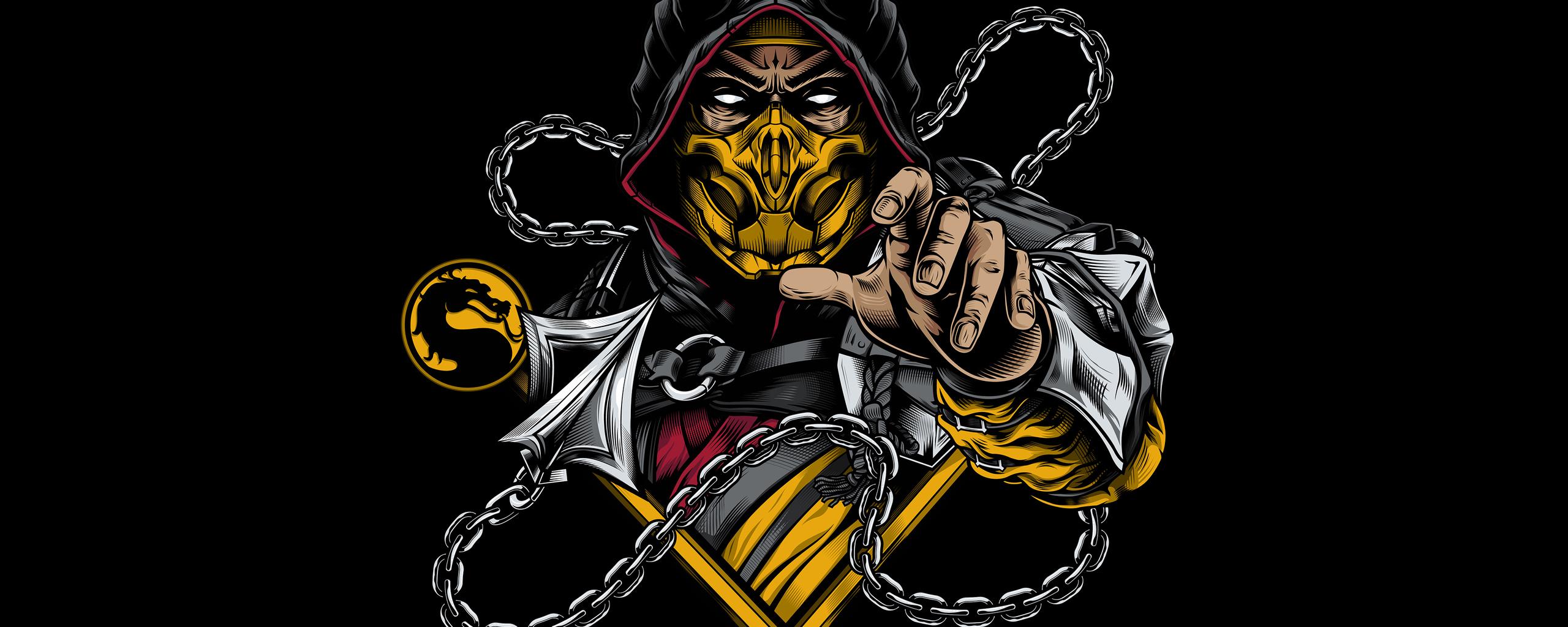 2560x1024 Scorpion Sub Zero Mortal Kombat Minimal 4k ...