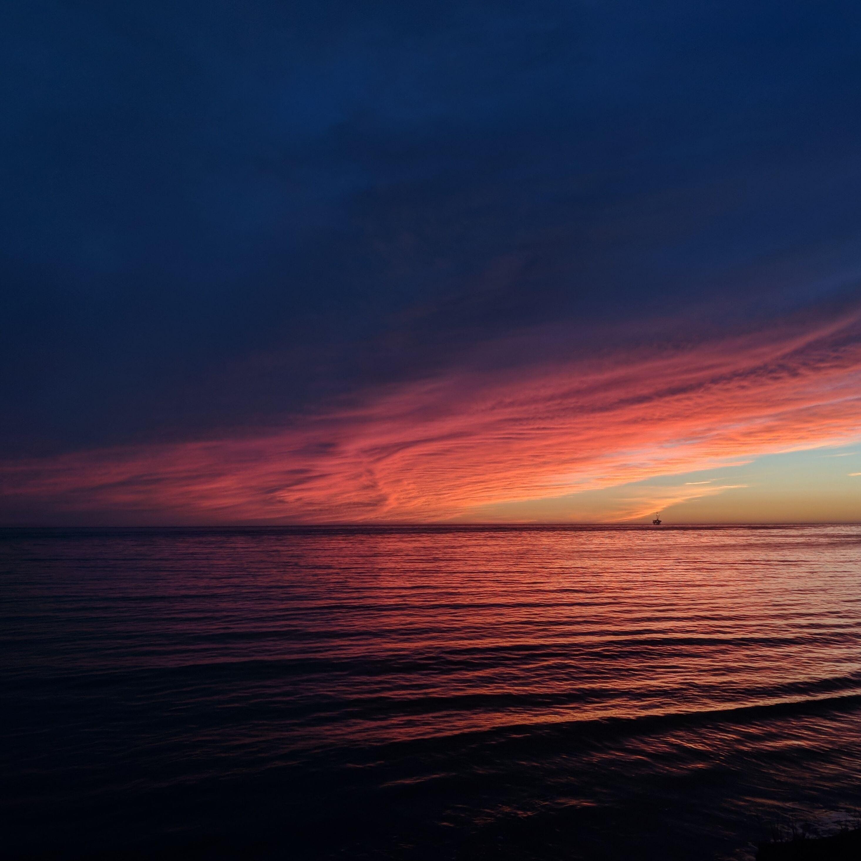 Hd Ocean Wallpaper: 2932x2932 Sea Ocean Sunset Reflection Pastel Waves Ipad