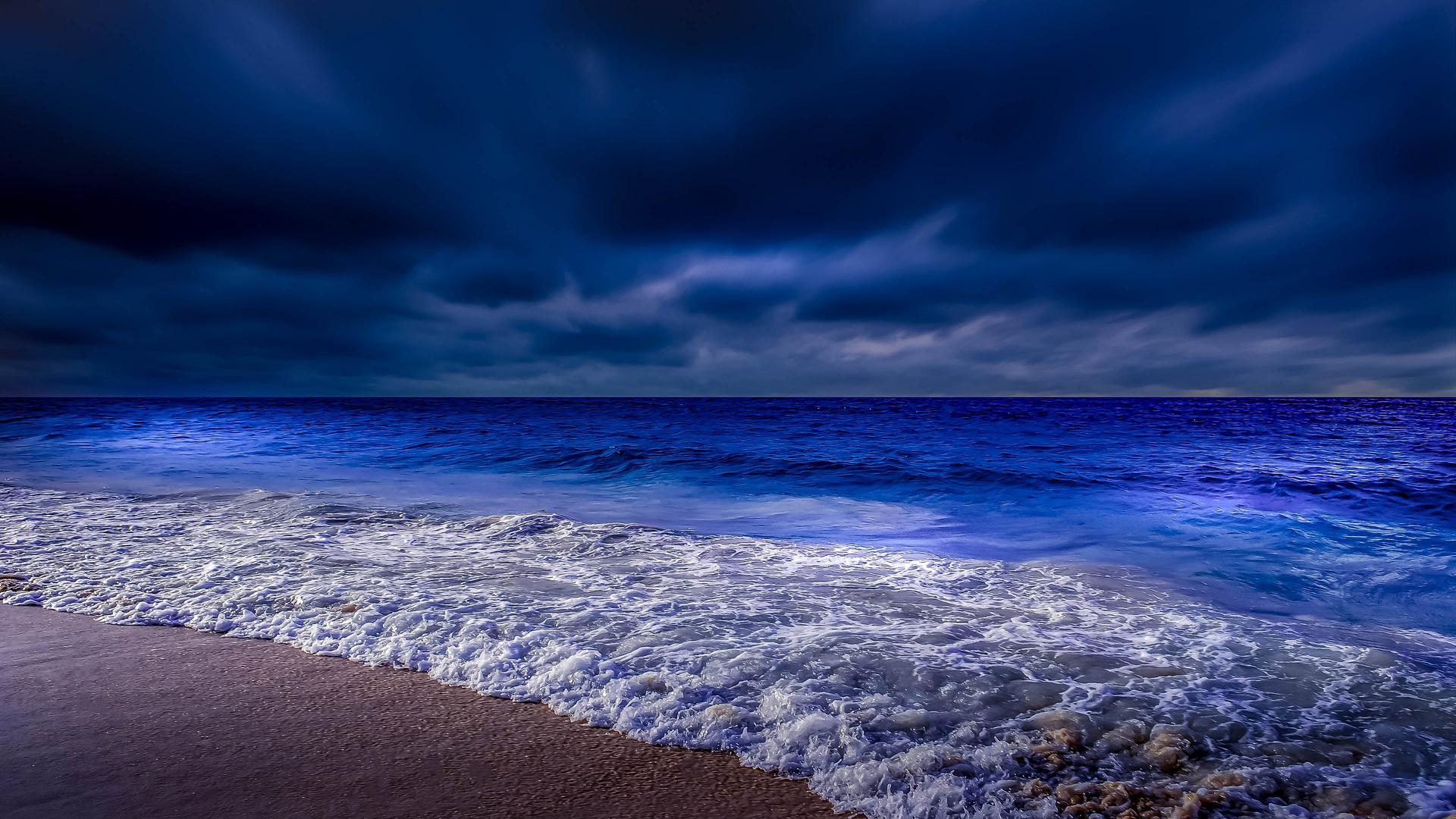 1920x1080 Sea Shore Waves At Night Time 4k Laptop Full HD ...