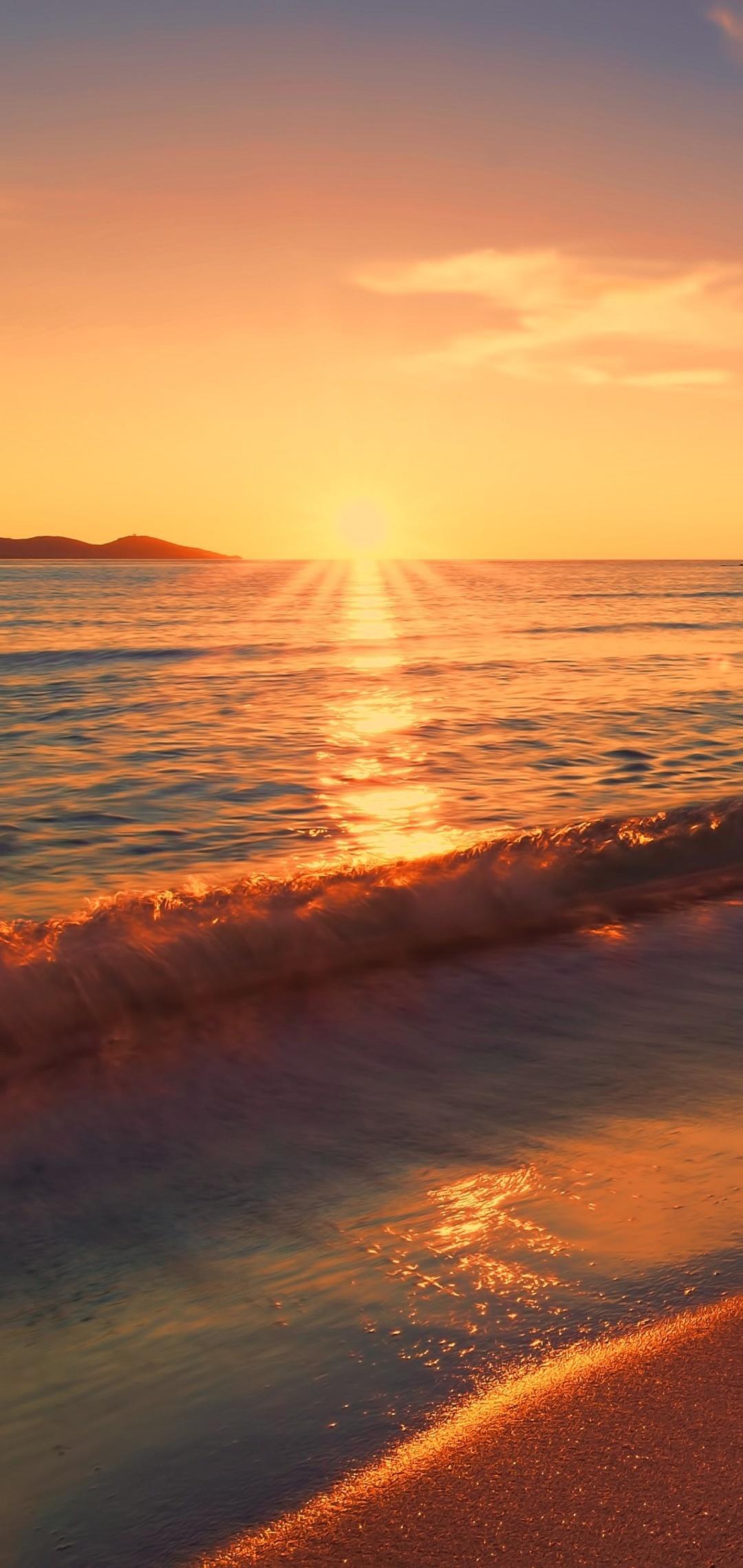 1080x2280 Sea Sunset Beach Sunlight Long Exposure 4k One ...
