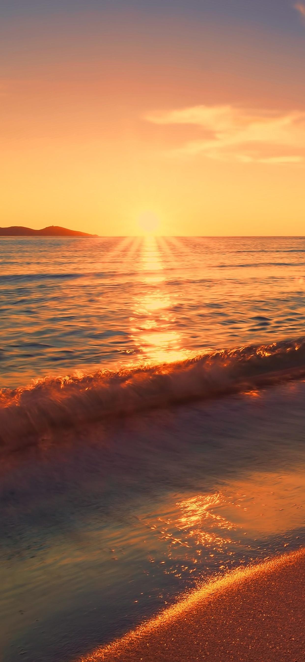 1242x2688 Sea Sunset Beach Sunlight Long Exposure 4k Iphone