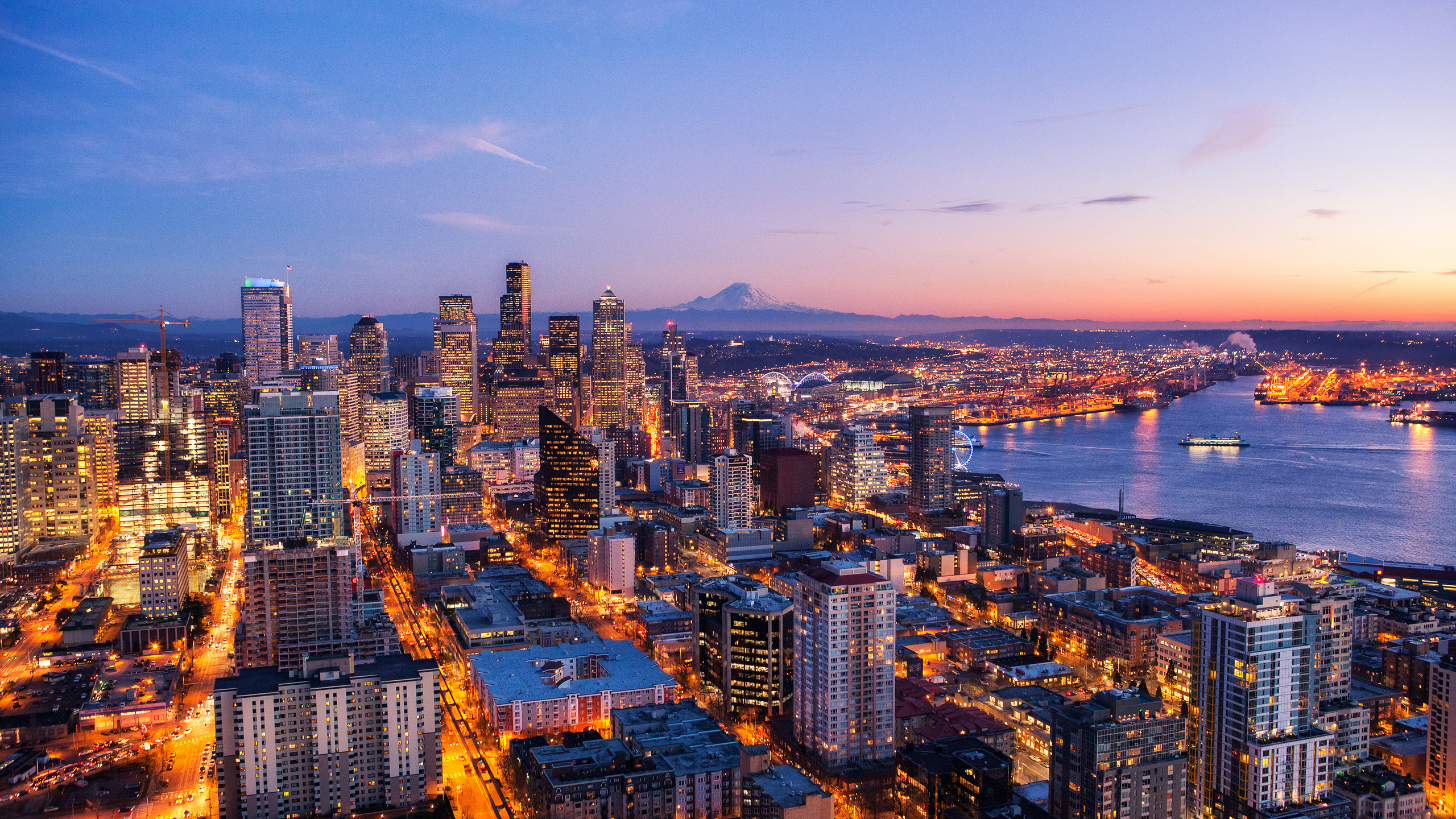 2560x1440 Seattle Skyline At Night View 4k 1440p Resolution Hd 4k Wallpapers Images Backgrounds Photos And Pictures
