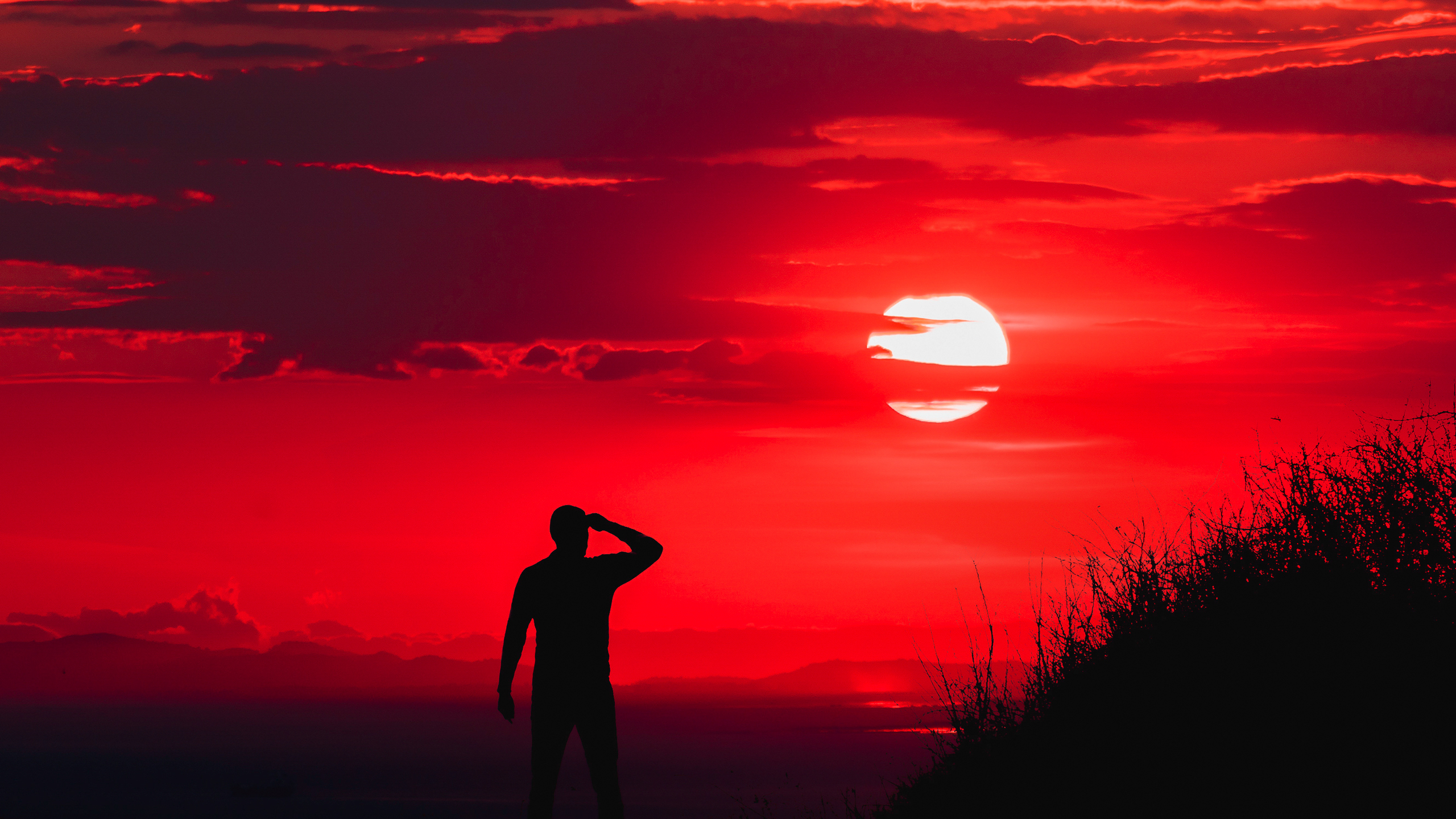 2560x1440 silhouette of man during red sun 1440p resolution hd 4k silhouette of man during red sun wbg altavistaventures Gallery