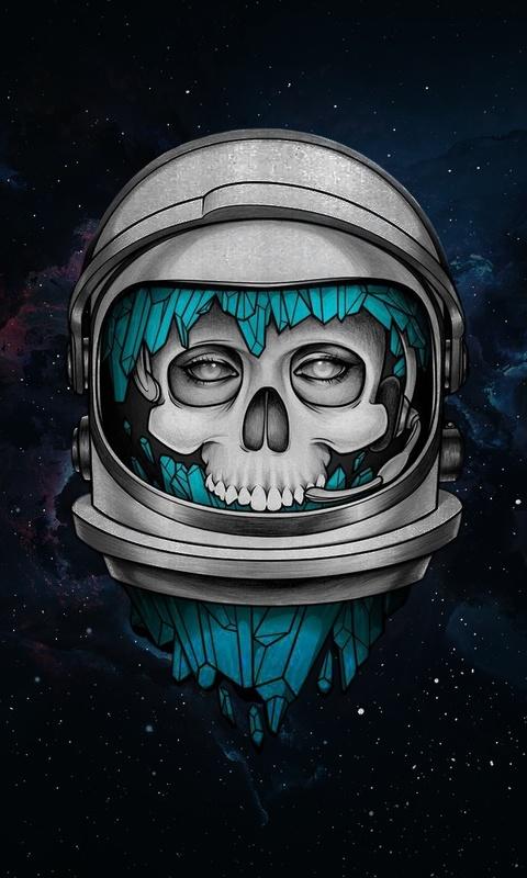 480x800 Skull Dark Astronaut Galaxy Note Htc Desire Nokia Lumia