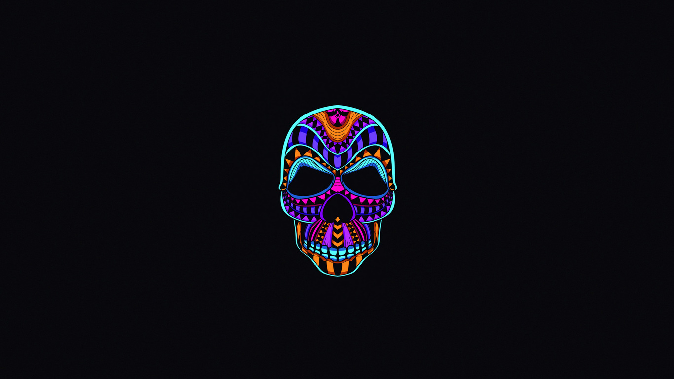 1366x768 Skull Dark Minimal 4k 1366x768 Resolution Hd 4k
